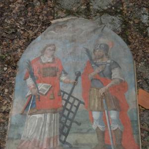 Slika sv. Lovrenca in Kancijana pred restavriranjem Foto: Jure Ferlan