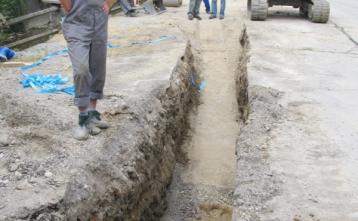 Gradnja vodovoda v Poljanah pri pošti