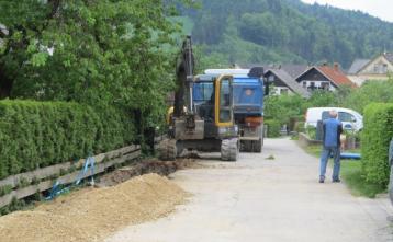 Gradnja vodovoda v Poljanah, odsek Polycom-Krek