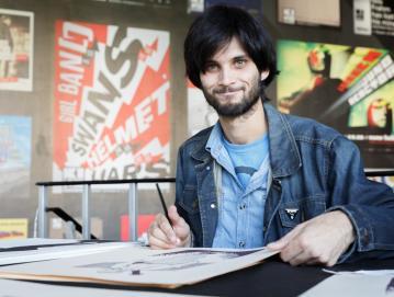 Povezovanje glasbe in stripa navdušuje 30-letnika iz Suše, ki se z glasbo aktivno ukvarja od leta 2007. Foto: Kaja Brezočnik/Kino Šiška