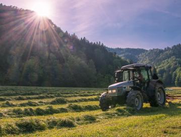 V maju in juniju kmetje pridno kosijo travnike in spravljajo krmo. Krajina diši po suhi travi in kar žari od nežne zelene barve narave in rumene barve sonca. Na fotografiji logi na Srednjem Brdu, pogled proti pobočjem Slajke in Makovc. Foto: Uroš Gantar