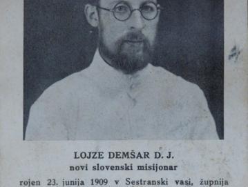 Spominska podobica s fotografijo Lojzeta Demšarja ob odhodu v misijone