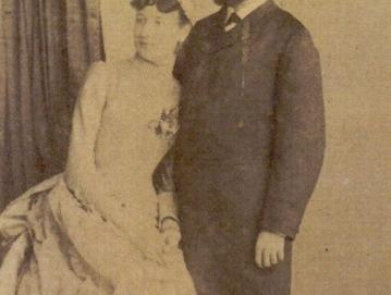 Franja in Ivan Tavčar kot mladoporočenca, 1887. Hrani ZAL, Enota Škofja Loka (SI ZAL ŠK 278/t. e. 4, a. e. 19)