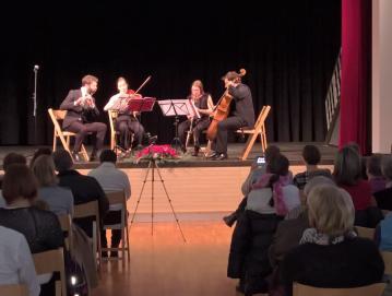 Kvartet Tamino je na dobrodelnem koncertu zaigral Mozartovo Čarobno piščal. Foto: Robert Peternelj