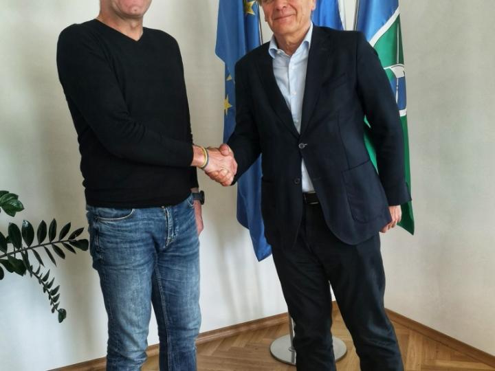 Župan Milan Čadež in Igor Božič, dir. podjetja SGP Zidgrad iz Idrije