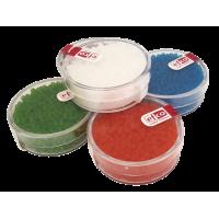 Barvne perle v škatlici, mat prosojne, 17 g, Ø2,6 mm