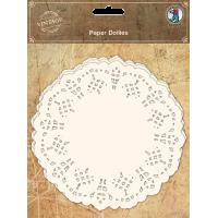 Čipka iz papirja, Ø14 cm, bela, 30 kosov