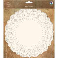 Čipka iz papirja, Ø22 cm, bela, 30 kosov