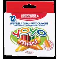 Debele voščenke Fibracolor yoyo maxi, Ø10 mm, 12 kosov
