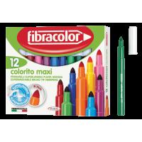 Debeli flomastri Fibracolor Colorito maxi, 12 kosov