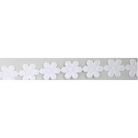 Dekoracije v traku, 20 mm, cvet, bele, dolžina 1 m