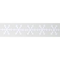 Dekoracije v traku, 22 mm, snežinka, bele, dolžina 1 m