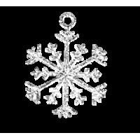 Dekorativni dodatek, snežinka, Ø15 mm, srebrn, 1 kos