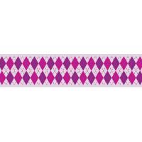 Dekorativni lepilni trak URSUS, 15 mm x 10 m, rombast vzorec, rožnat