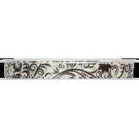 Dekorativni trak, 10 mm, ornament, črn / bel, 1 meter