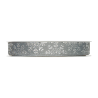 Dekorativni trak, 15 mm, snežinke, srebrn, 1 m