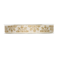 Dekorativni trak, 15 mm, snežinke, zlat, 1 m