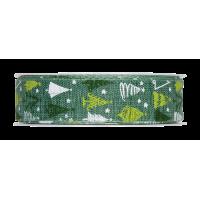 Dekorativni trak, 25 mm, Božična jelka, zelen, 1m