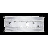 Dekorativni trak, 25 mm, zvezdice, srebrn, 1 m