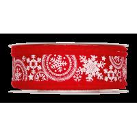 Dekorativni trak, 35 mm, snežinke, rdeč, 1 m