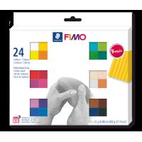FIMO soft, osnovne barve, 24 polovičnih blokov