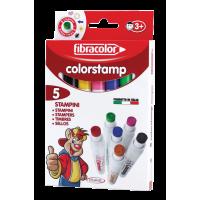 Flomastri - štampiljke Fibracolor, splošni motivi, 5 flomastrov