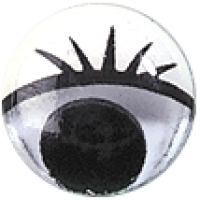 Gibljivo oko s trepalnicami, okroglo, Ø10 mm, 1 kos