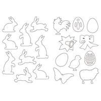 Izsekani velikonočni motivi iz belega fotokartona, 23 x 33 cm, 59 kosov