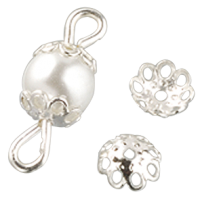 Kapica za perle, Ø6 mm, srebrna, 30 kosov