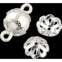 Kapica za perle, Ø8 mm, srebrna, 30 kosov