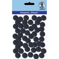 Komplet cofkov iz pliša, Ø15 mm, črni, 60 kosov