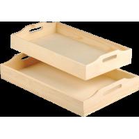 Komplet dveh lesenih pladnjev, 42 x 26 x 7 + 39 x 23 x 5 cm