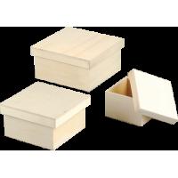 Komplet lesenih škatlic, 16 x 16 x 8 cm, 3 kosi