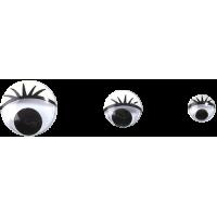 Komplet okroglih očes s trepalnicami, 4 x Ø7, 4 x Ø10, 2 x Ø15 mm, 10 kosov