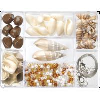 Komplet perl 7, bele / rjave