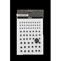 Komplet samolepilnih gibljivih očes, okrogla, Ø8 + 12 + 14 mm, 69 kosov