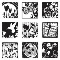 Komplet štampiljk 10 x 17,5 cm, pomladni vrt, 10 delni