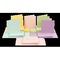 Kuverta + voščilnica, 15 x 15 cm, pastelne barve, 1 komplet