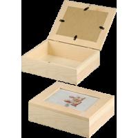 Lesena škatla za shranjevanje z okvirjem za sliko, 19 x 15.5 x 6 cm