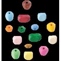 Lesene perle, različnih oblik, mešane, 30 perl