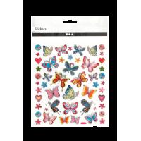 Nalepke, 15 x 16.5 cm, metulji, približno 21 nalepk