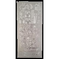 Nalepke, srebrne, 10 x 23 cm, Božič