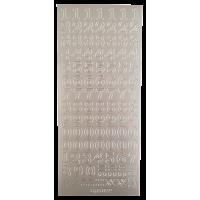 Nalepke, srebrne, 10 x 23 cm, številke