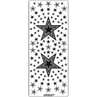 Nalepke, srebrne, 10 x 23 cm, zvezdice 2
