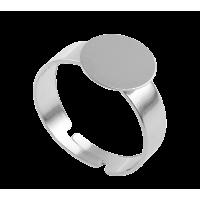 Osnova za prstan, 10 mm, okrogla, srebrna, 1 kos
