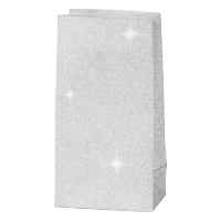 Papirnata vrečka, 120 g, 6 x 9 x 17 cm, glitter srebrna