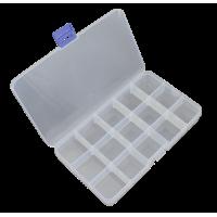 Plastična škatlica, 175 x 100 x 22 mm, 15 predalov, prosojna