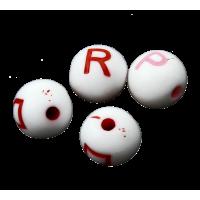 Plastične perle ABC, Ø8 mm, okrogle, približno 50 g, mešane