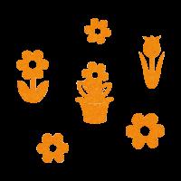 Rožice iz filca, 15 - 21 x 35 mm, oranžne, 18 kosov