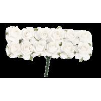 Rožice iz papirja na žici, 15 mm, bele, 12 kosov